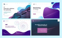 Set of web page design templates with abstract background for marketing, seo, website design vector illustration