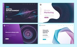 Set of web page design templates with abstract background for mobile marketing, social marketing, design studio, digital entertain. Modern vector illustration royalty free illustration