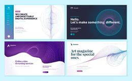 Set of web page design templates with abstract background for social marketing, video streaming, online art magazine vector illustration