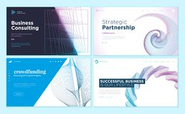 Set of web page design templates with abstract background for strategic partnership, consulting, business success, crowdfunding vector illustration