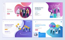 Set of web page design templates for business, finance and marketing. Modern vector illustration concepts for website and mobile website development. Easy to Royalty Free Stock Images