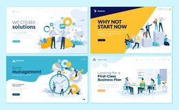 Set of web page design templates for business solutions, startup, time management, planning and strategy Stock Illustration