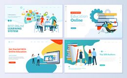 Set of web page design templates for e-learning, online education, e-book Stock Photo