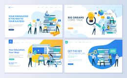 Set of web page design templates for education, know how, university, business solutions Royalty Free Stock Photos
