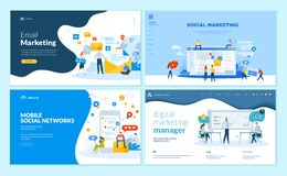 Set of web page design templates for mobile social network, internet marketing solutions Royalty Free Illustration
