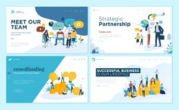 Set of web page design templates for our team, meeting and brainstorming, strategic partnership, crowdfunding, business success Stock Illustration