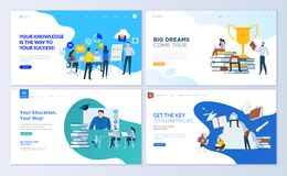 Set of web page design templates for staff education, consulting, college, education app Stock Images