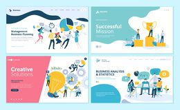 Set of web page design templates for teamwork, project management, business workflow, customer relationship management Stock Illustration