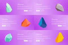 Set of Web Posters Gemstones Webpages Ppush Button. Set of web posters gemstones webpages with push buttons about and read more, landing pages with precious Stock Images