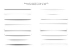 Set of Web Shadows Dividers. An illustration of straight horizontal shadows or dividers for web pages, images, etc. to make objects appear as 3-D images. Image Royalty Free Stock Photography