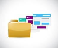 Set of web templates inside a folder. illustration Stock Images