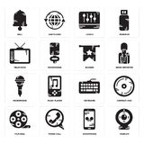Set of Webcam, Smartphone, Film reel, Keyboard, Microphone, Banner, Television, Levels, Bell icons. Set Of 16 simple  icons such as Webcam, Smartphone, Phone Stock Photo