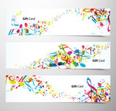 Set of website banners with colorful music notes. Stock Photography