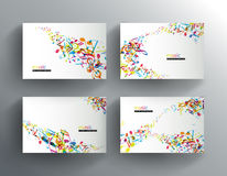 Set of website banners with colorful music notes. Stock Photo