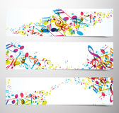 Set of website banners with colorful music notes. Royalty Free Stock Photo