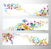 Set of website banners with colorful music notes. Vector art Royalty Free Stock Image
