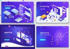 Set Website templates, Concept for business technologies, data analysis, e-learning, adaptive design. Vector illustration concept. Set of Website templates stock illustration