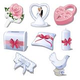 Set wedding accessories isolated on white background. The brides bouquet, figurine newlyweds for car decoration, pink. Padlock, box, pillow, candle, garter and Stock Images