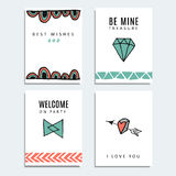 Set of wedding and birthday cards, hipster design,   background Royalty Free Stock Photography