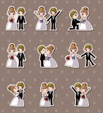 Set of wedding ,Bridegroom and Bride stickers Royalty Free Stock Images