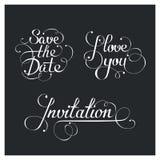Set of Wedding calligraphic lettering, vector design elements vector illustration