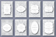 Set of wedding card flyer pages ornament illustration concept. Vintage art traditional, Islam, arabic, indian, ottoman Stock Photo