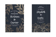Set of wedding card invitation flyer pages in old style Royalty Free Stock Photos