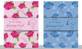 Set wedding card with roses. Decorative pink and blue invitation Stock Photo
