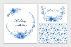 Set of wedding cards with blue flowers. Watercolor hand draw. Invitation, postcard. White background stock illustration
