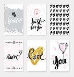 Set wedding cards Calligraphy for design Royalty Free Stock Photography