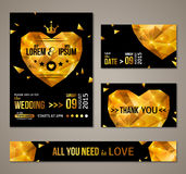 Set of wedding cards with gold heart Royalty Free Stock Images