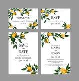 Set of wedding cards invitation with lemon branches stock illustration