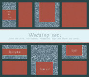Set of wedding cards invitation, thank you card, save the date card, RSVP card with swirl textured elements. Stock Photos