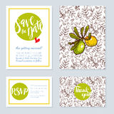 Set of wedding cards, invitations for a bachelorette Stock Photos