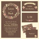Set of wedding cards or invitations vector illustration