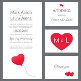 Set of wedding cards or invitations Stock Photos
