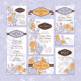 Set of wedding cards Royalty Free Stock Photos