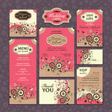 Set of wedding cards. Wedding invitations. Thank you card. Save the date card. Table card. RSVP card and Menu royalty free illustration