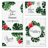 Realistic House Plant Wedding Cards. Set of wedding cards with leaves and flower of realistic house plant monstera isolated vector illustration Stock Photography