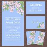 Set of wedding cards with sakura Royalty Free Stock Photo