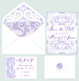 Set of wedding cards. Vector set of invitation cards with lace elements Stock Photos