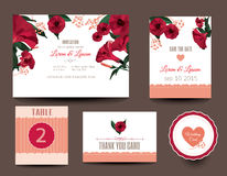 Set of wedding cards. Wedding invitations. Thank you card, table card stock illustration
