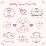 Set of wedding celebration badge and sign decoration elements design Royalty Free Stock Image