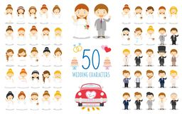 Set of 50 wedding characters and nuptial icons in cartoon style. Vector Illustration stock illustration