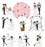 Set of wedding couple illustrations Stock Photos