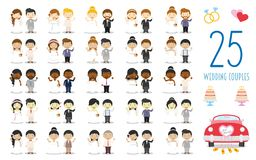Set of 25 wedding couples and nuptial icons in cartoon style. Vector Illustration. Kids Weddings Collection vector illustration