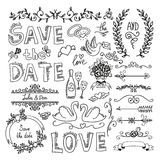 Set of wedding decorative elements Royalty Free Stock Photos