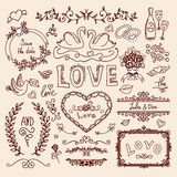 Set of wedding decorative elements Stock Photography