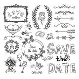 Set of wedding decorative elements Royalty Free Stock Image