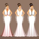 A set of wedding dresses. The choice. Clothes for the bride. vector illustration